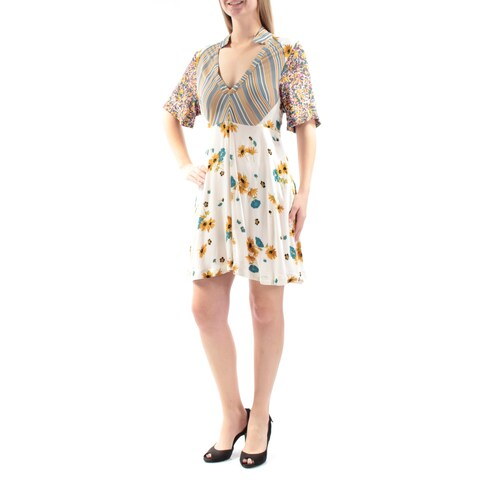 FREE PEOPLE Womens Ivory Floral 3/4 Sleeve V Neck Mini ALine Dress Size: 0