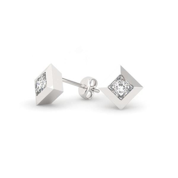 74ea633ba Shop 3/4 CT.TW 14KT Gold Bezel Princess Cut Diamond Stud Earrings ...