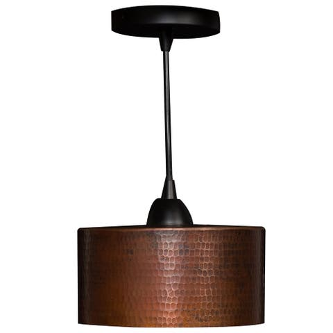 Premier Copper Products Cylindrical Hammered Copper Pendant Light