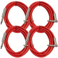 "Seismic Audio 4 Pack - 10' Red Guitar Cable TS 1/4"" to Right Angle - Instrument Cord"