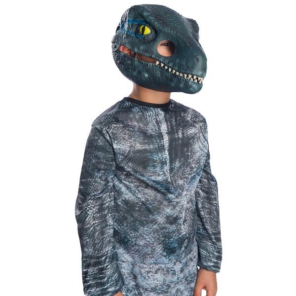 Adult Jurassic World Blue Velociraptor Movable Jaw Mask