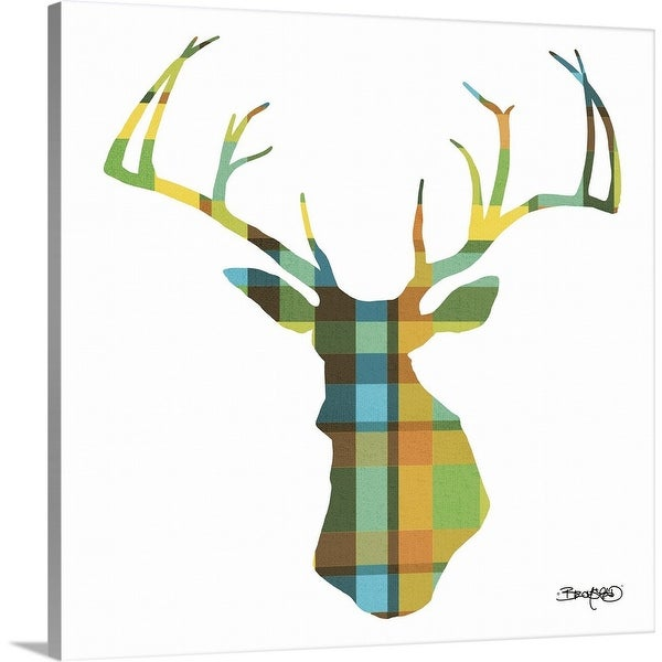 """Deer Plaid"" Canvas Wall Art"