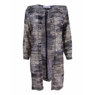 Kasper Women's Plus Size Printed Flyaway Jacket - Black Multi