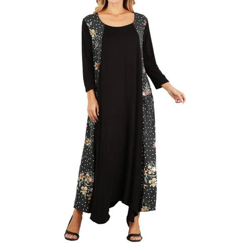 b2805b5571 Funfash Plus Size Women Black White Floral Long Sleeve Maxi Long Dress