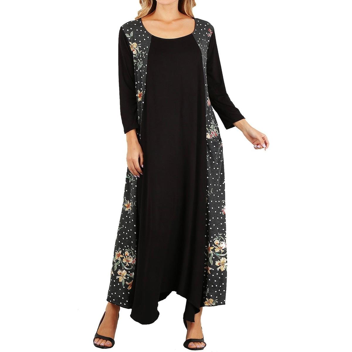 Funfash Plus Size Women Black White Peach Long Sleeves Maxi Dress USA
