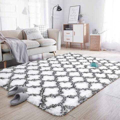 Lochase Soft Area Rugs for Bedroom Living Room Shaggy Patterned Fluffy Carpets, Decor Rug,4ft x 5.9ft