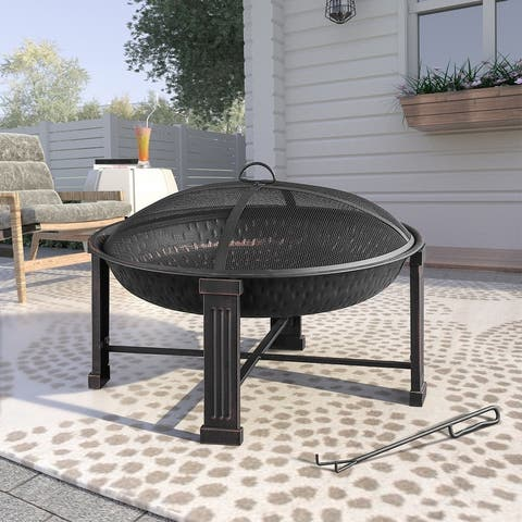 """28"""" Elevated Round Steel Fire Pit"""