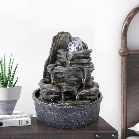 4-Tier Rockery Tabletop Fountain Cascading Fountain w/Led Light & Ball