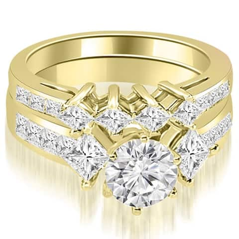 2.85 ct.tw 14K Yellow Gold Channel Set Princess and Round Cut Diamond Bridal Set