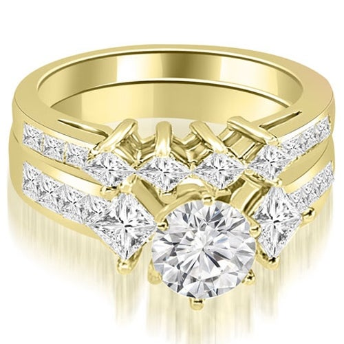 3.10 cttw. 14K Yellow Gold Channel Set Princess and Round Cut Diamond Bridal Set