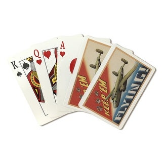 Keep 'Em Flying/B-25 Medium Bomber (Airplane) - Vintage Propaganda (Playing Card Deck - 52 Card Poker Size with Jokers)