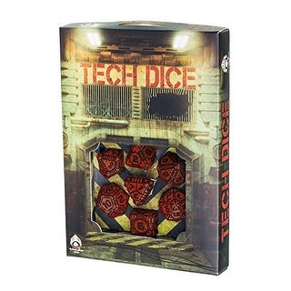 Q-Workshop Polyhedral 7-Die Set: TECH - Red & Black Dice Set