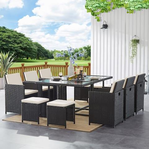 Outdoor 11 Pieces PE Wicker Patio Dining Sets