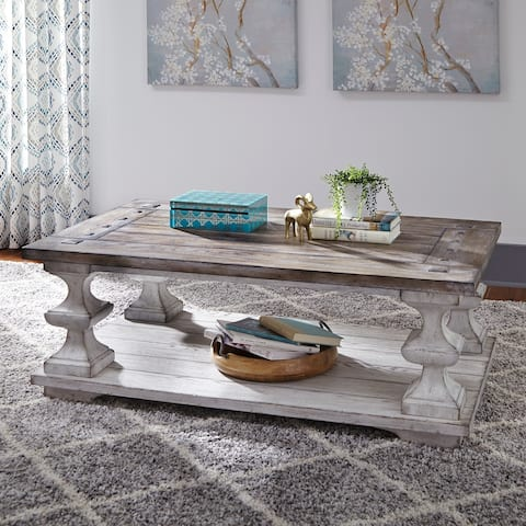 Sedona Heavy Distressed White Cocktail Table