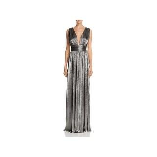 Laundry by Shelli Segal Womens Evening Dress Metallic Deep V-Neck