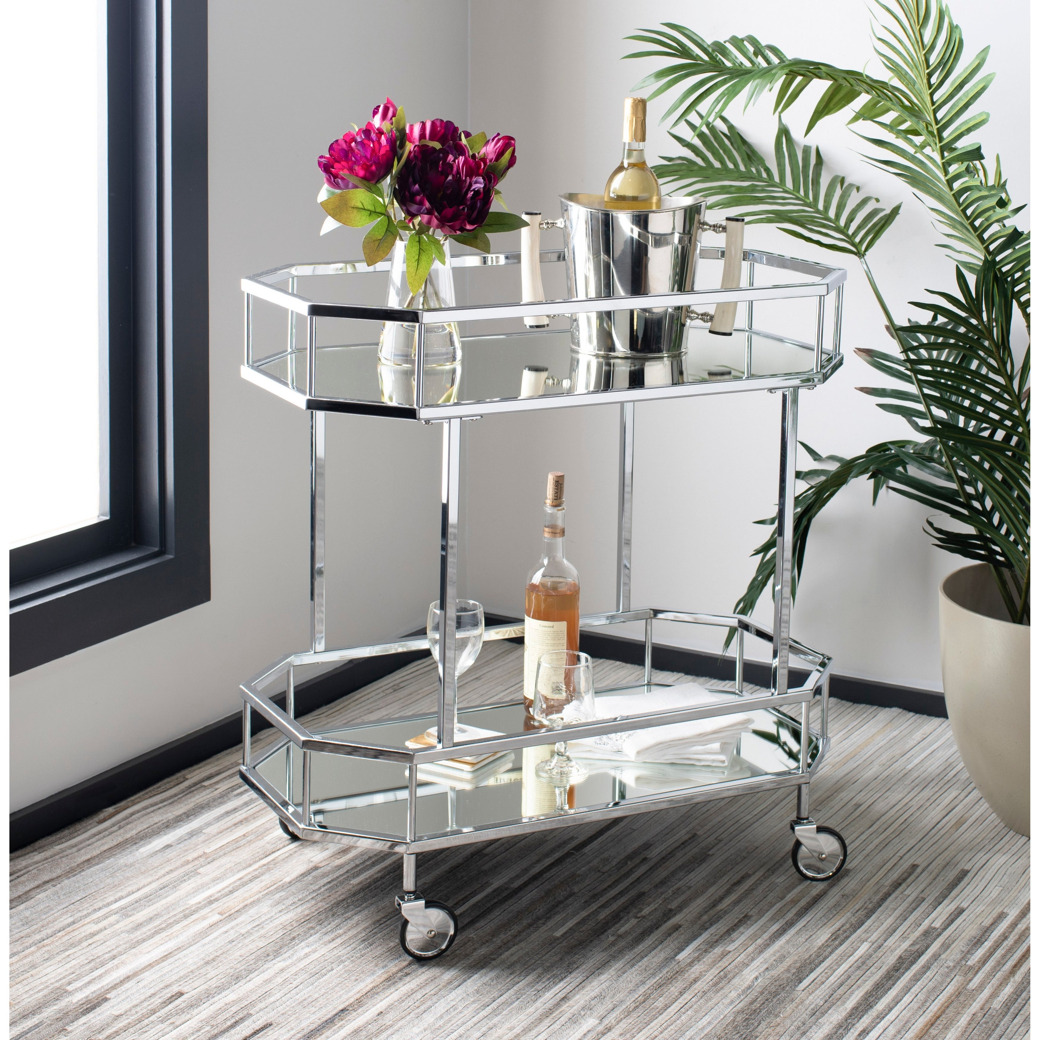 Safavieh Silva 2 Tier Octagon Bar Cart Silver Mirror 29 6 X 16 5 X 29 8 29 6 X 16 5 X 29 8 On Sale Overstock 23591321