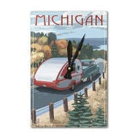 Michigan - Retro Camper on Road - LP Artwork (Acrylic Wall Clock) - acrylic wall clock