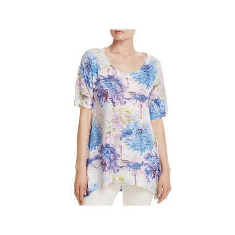 Nally & Millie Womens Pullover Top Water Color Floral Print