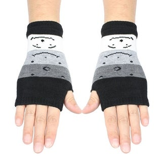 Unique Bargains Women's Cartoon Star Detail Colorful Stretchy Knitting Thumb Hole Detail Gloves