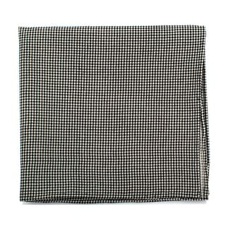 Black and White Houndstooth Silk Pocket Square