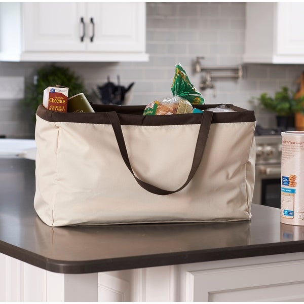 KRUSH CONTAINER Rectangle Tote Bag, Classic with Brown Trim. Opens flyout.