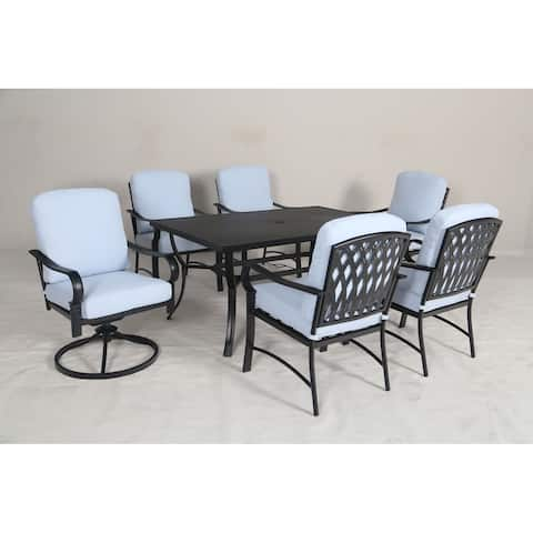 Sarasota 7pc Cushioned Dining Set with Swiveling Host Chairs