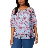 NY Collection Womens Plus Blouse Sheer Floral Print