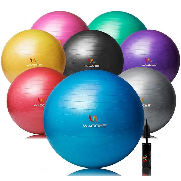 Wacces Exercise Ball for Yoga Fitness Pilates with Dual-Pump. Opens flyout.