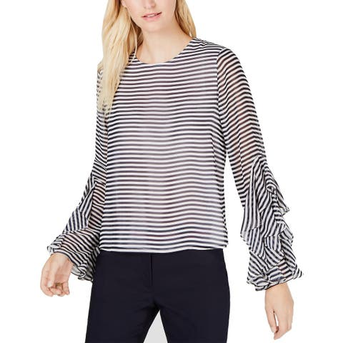 Tommy Hilfiger Womens Flutter-Sleeve Top Large Black and White Striped