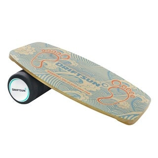 Driftsun Classic Wooden Balance Board - Premium Balance Trainer with Roller for Boardsports, Surf, SUP, Wakesurf