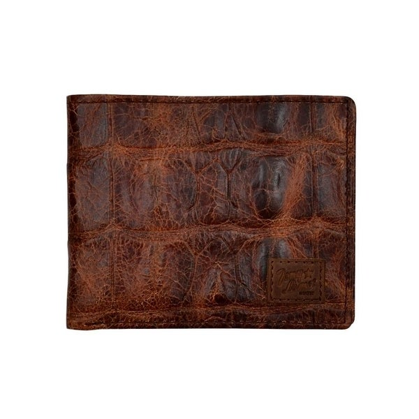 Tony Lama Western Wallet Mens Bifold Rodeo Croc Print Cognac - One size