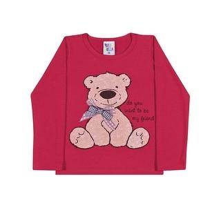 Toddler Girl Shirt Long Sleeve Bear Graphic Tee Pulla Bulla Sizes 1-3 Years