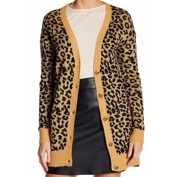 26e93439c90d Shop Abound NEW Orange Womens Size Large L Leopard Print Cardigan Sweater -  Free Shipping On Orders Over $45 - Overstock - 20897565