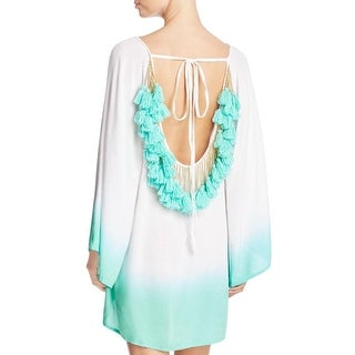 Sundress Womens Beaded Tassels Asymmetric Ruffle Dress Swim Cover-Up - XXS