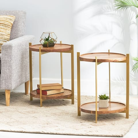 Barnsley Indoor Acacia Wood Handcrafted End Table by Christopher Knight Home