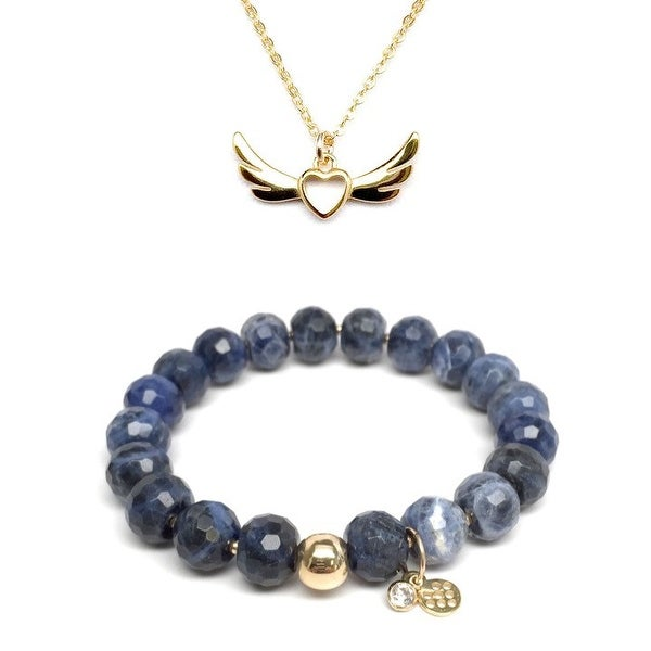 "Blue Sodalite 7"" Bracelet & Wings Of Love Gold Charm Necklace Set"