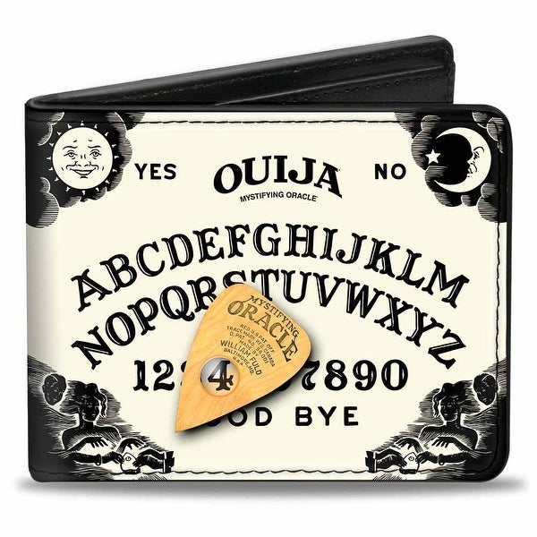 Ouija Mystifying Oracle Board Elements Planchette White Black Natural Bi Bi-Fold Wallet - One Size Fits most