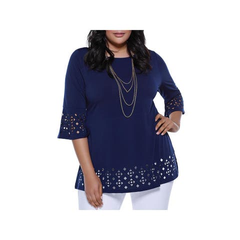 Belldini Womens Plus Tunic Top Laser Cut Embellished - 3X