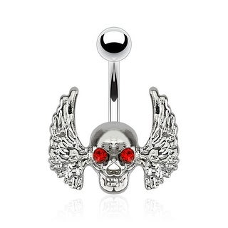 Skull with Red Gem Eyes and Angel Wings 316L Surgical Steel Navel Belly Button Ring