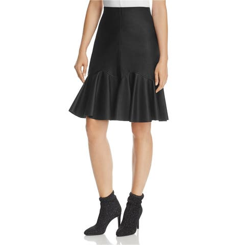 Rebecca Taylor Womens Faux-Leather A-Line Skirt
