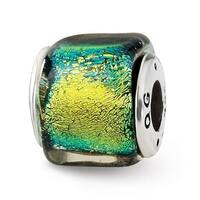 Sterling Silver Reflections Yellow Dichroic Glass Square Bead (4mm Diameter Hole)