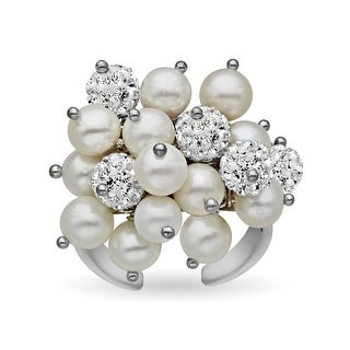 Aya Azrielant Bouquet Ring with Freshwater Pearls and White Swarovski Crystal Pavé in Rhodium Plate - Size 6