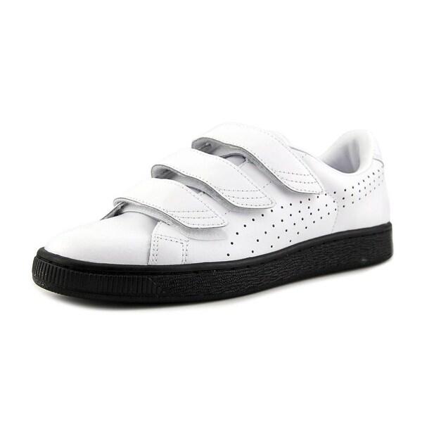 cac66a1fa233 Puma Basket Classic Strap B amp W Men Round Toe Leather Black Sneakers