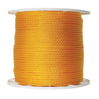 """Wellington P2416S1000Y01S Hollow Braid Poly Rope, 1/4"""" x 1000'"""