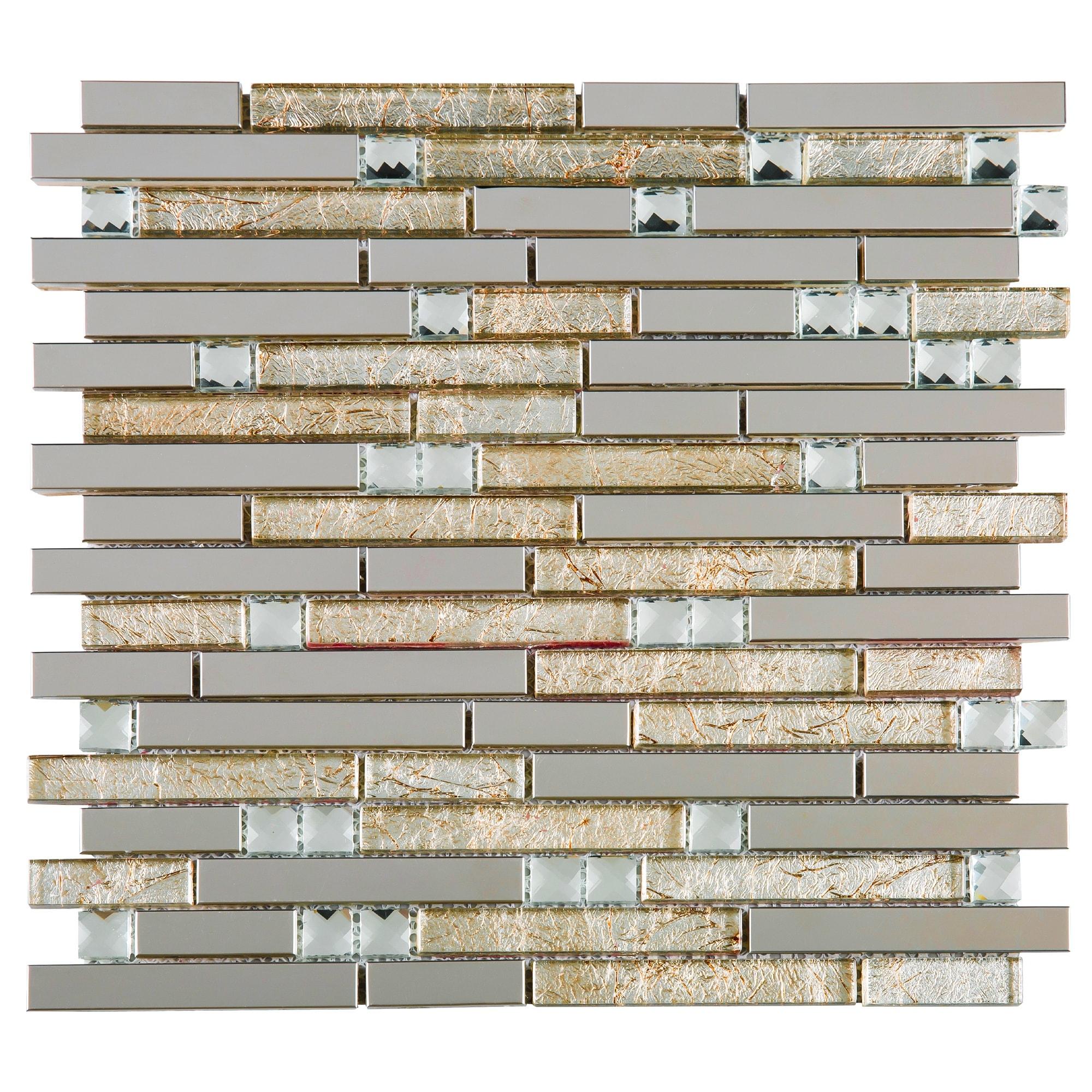 - Shop TileGen. Crystal Diamond Random Sized Metal And Glass Mosaic