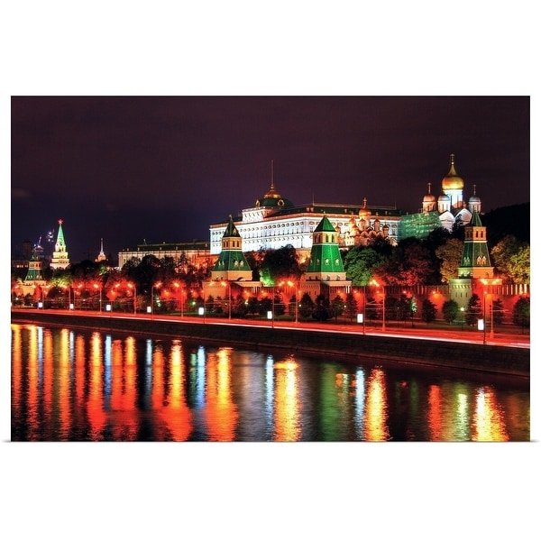 """""""Kremlin in Moscow in front of river Moskva."""" Poster Print"""