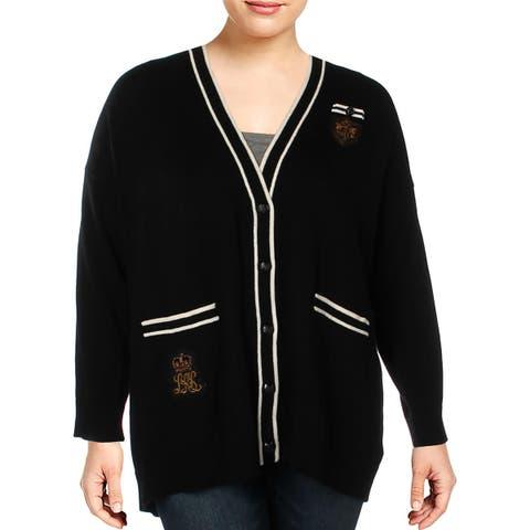 Lauren Ralph Lauren Womens Plus Cardigan Sweater Contrast Trim Button-Down - 3X