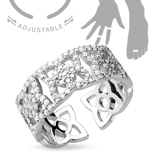 Micro Pave CZ Flowers Adjustable Toe Ring/Mid Ring (Sold Ind.)