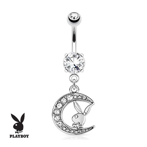 Playboy Bunny with Paved Gemmed Moon Dangle 316L Surgical Steel Navel Belly Button Ring