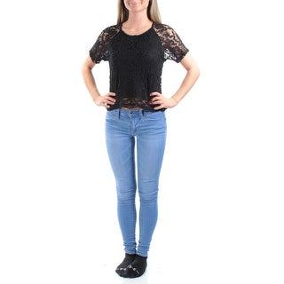 MATERIAL GIRL Womens New 1365 Black Short Sleeve Lace Top Juniors XS B+B
